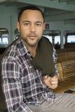 Молодой чернокожий человек ferryboat Стоковая Фотография RF