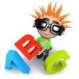 молодость смешного шаржа 3d панковская держа буквы алфавита Стоковая Фотография
