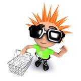 молодость смешного шаржа 3d панковская держа корзину для товаров Стоковое Изображение RF