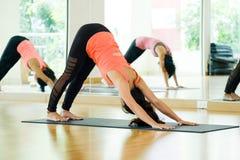 Молодые азиатские женщины практикуя йогу, фитнес протягивая flexibilit Стоковые Фото