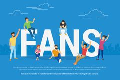 Молодые вентиляторы кубка мира футбола наблюдают руку игры онлайн показывать иллюстрация вектора