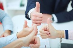 Молодые деловые партнеры обсуждая идеи для запуска на встрече Руки команды дела с tumbs вверх Стоковое Изображение