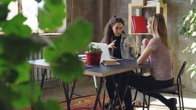 Молодые деловые партнеры работают совместно на проекте пока сидящ на столе в современном офисе Они говорят сток-видео