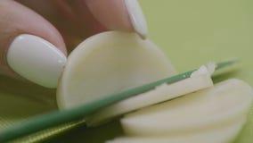 Молодые женские руки отрезая белый лук Женщина прерывая луки на разделочной доске с ножом Женщина режет нож лука Стоковые Фото