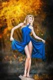 Молодые женщины в голубом длиннем платье на заходе солнца в пуще Стоковая Фотография