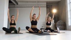 Молодые женщины в занятиях йогой, раздумье, делая протягивающ тренировки на поле Спорт, фитнес, йога, аэробика и акции видеоматериалы