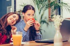 Молодые женщины наблюдая содержание средств массовой информации на линии в ноутбуке пока выпивающ кофе стоковые фотографии rf