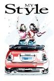 Молодые женщины нарисованные рукой красивые в красном автомобиле Стильные элегантные девушки 2 девушки обнимая один другого Взгля иллюстрация штока