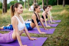 Молодые женщины практикуя йогу в природе Стоковое фото RF