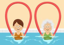 Молодые и пожилые женщины используя лапши бассейна в бассейне бесплатная иллюстрация
