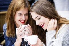 Молодые и привлекательные модные женщины имеют потеху на кафе Стоковые Изображения