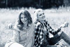 Молодые красивые женщины на пикнике в лете паркуют Стоковые Фото