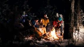 Молодые люди в лесе зимы сидя огнем Жарить еду на огне акции видеоматериалы