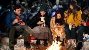 Молодые люди в лесе зимы сидя огнем Люди сидя в их телефонах и усмехаться Социальная проблема акции видеоматериалы