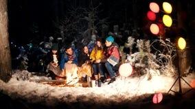 Молодые люди в лесе зимы сидя огнем Милый поцелуй пар Счастливая группа в составе друзья наслаждающся их сток-видео