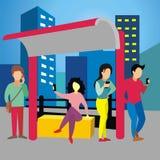 Молодые люди и их устройство на общественном месте иллюстрация штока