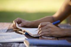 Молодые люди и образование, женщина изучая для испытания университета стоковые фото