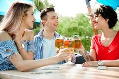Молодые люди с стеклами холодного пива Стоковая Фотография