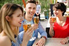 Молодые люди с стеклами холодного пива Стоковое Изображение RF