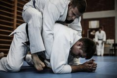 Молодые мужчины практикуя дзюдо совместно стоковое изображение