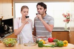 Молодые пары выпивая стекло вина Стоковое Изображение RF
