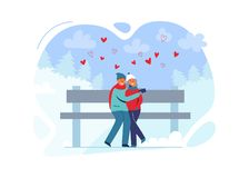 Молодые пары в влюбленности в одеждах зимы на ландшафте Snowy Счастливые человек и женщина совместно в парке с рождественскими ел иллюстрация вектора