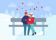 Молодые пары в влюбленности в одеждах зимы на ландшафте Snowy Счастливые человек и женщина совместно в парке с рождественскими ел иллюстрация штока