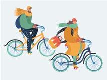 Молодые пары едут велосипеды в холоде бесплатная иллюстрация