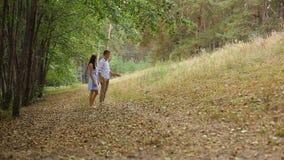 Молодые пары идя в древесины на следе с его котом сток-видео