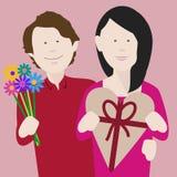 Молодые пары празднуя день валентинок стоковая фотография rf