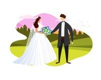 Молодые пары свадьбы получая женатый под открытым небом значок иллюстрация вектора