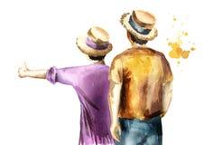 Молодые пары hikers, автостопщик белизна изолированная предпосылкой Иллюстрация акварели нарисованная рукой бесплатная иллюстрация