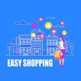 Молодые покупки WomanMaking легкие, онлайн приобретение иллюстрация вектора