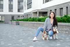 Молодые привлекательные женщины идя с щенком 2 лайок на улице стоковое фото