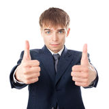 Молодые руки бизнесмена делают вверх изолированные большие пальцы руки Стоковые Изображения