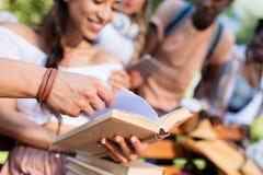 Молодые студенты с книгами изучая в парке Стоковое Изображение RF
