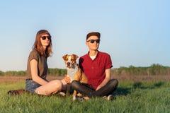Молодые счастливые пары человека и женщины с терьером d Стаффордшира стоковое фото