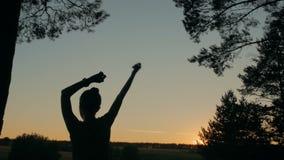 Молодые счастливые танцы женщины и потеха иметь в лесе после захода солнца акции видеоматериалы