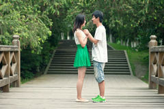 Молодые человеки и женщины лицом к лицу на мосте Стоковые Изображения