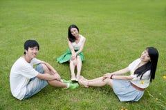 Молодые человеки и женщины сидя на траве Стоковое фото RF