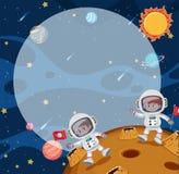 Молодые astronuats на луне иллюстрация вектора