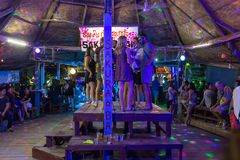Молодые backpackers имея потеху в одном из баров в Vang Vieng, Лаосе Стоковое Изображение