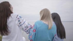 3 молодых девушки нося длинное платье моды лета беседуют на поле на фоне озера или видеоматериал