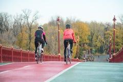 2 молодых женских велосипедиста ехать велосипеды дороги на линии велосипеда моста в холодном дне осени уклад жизни принципиальной Стоковое Изображение