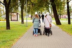 2 молодых подруги мам идут с маленькими ребеятами в прогулочных колясках для парка осени Женщины на прогулке с детьми, соперничат Стоковое Изображение