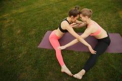 2 молодых привлекательных девушки практикуя йогу внешнюю Стоковые Фото