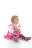 молоко девушки младенца выпивая довольно Стоковые Изображения
