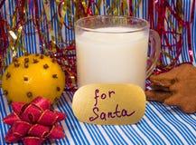 Молоко для Санты на Рожденственской ночи Стоковые Изображения