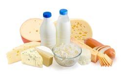 Молоко и молочные продучты на белой предпосылке Стоковая Фотография RF