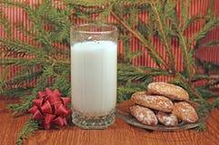 Молоко и gingerbread для Санта Стоковое фото RF